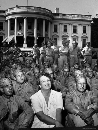 First Lady Eleanor Roosevelt with a Large Group of US Soldiers Photographic Print by Thomas D. Mcavoy