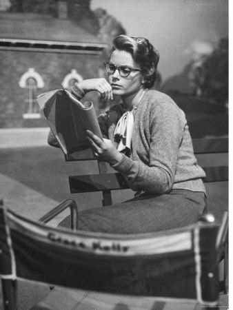 "Actress Grace Kelly Studying Script for Her Role of Georgie in ""The Country Girl"" on movie set Premium Photographic Print by Ed Clark"