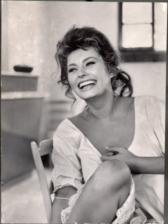Actress Sophia Loren Laughing While Exchanging Jokes During Lunch Break on Madame Movie Set Metal Print by Alfred Eisenstaedt
