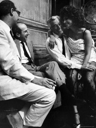 "Sophia Loren Sitting on Director Vittorio de Sica's Lap During Filming ""Marriage, Italian Style"" Metal Print by Alfred Eisenstaedt"