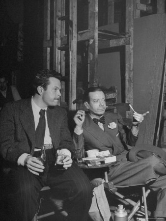 """Orson Welles and Cole Porter Discussing the Stage Production of """"Around the World in 80 Days"""" Metal Print by Al Fenn"""