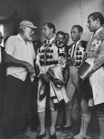 Matador Luis Miguel Dominguin with American Writer Ernest Hemingway Premium Photographic Print by James Burke