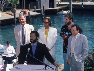 Philip Michael Thomas and Don Johnson at a Press Conference for Miami Vice Metal Print by Kevin Winter