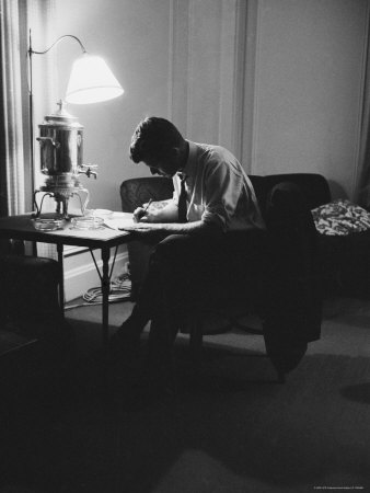 Presidential Candidate John F. Kennedy Makes Last Minute Notes in at Democratic National Convention Photographic Print by Hank Walker