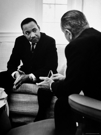 Civil Rights Leader Dr Martin Luther King with Pres. Lyndon Johnson During Visit to the White House Metal Print by Stan Wayman