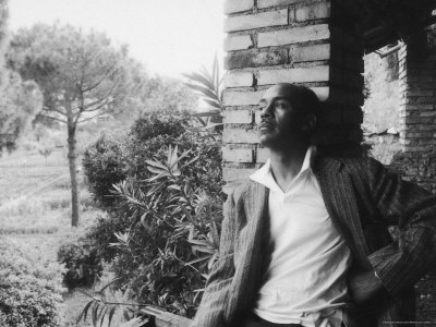 Author Ralph Ellison Against Brick Wall at American Academy on Rome Fellowship in Literature Metal Print by James Whitmore