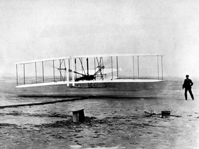"Wright Brothers Wilbur and Orville with 1903 Airplane ""Kitty Hawk"" on First Flight Metal Print"