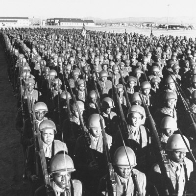 First All Black Combat Division, 93Rd, on Parade after Hike in Sweltering Heat at Fort Huachuca Photographic Print by Charles E. Steinheimer
