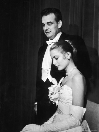 Grace Kelly and Prince Rainier III Attending a Banquet After Announcing Their Engagement Metal Print by Ralph Morse