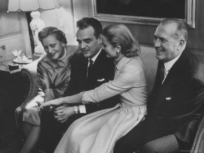 Grace Kelly with Her Fiance Prince Rainier During Announcement of the Engagement at Home Metal Print by Howard Sochurek