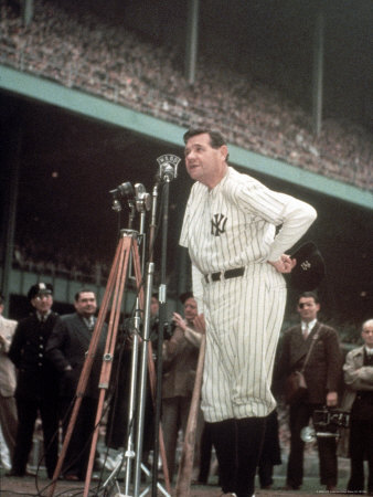 Baseball Great Babe Ruth, Addressing Crowd and Press During Final Appearance at Yankee Stadium Metal Print by Ralph Morse