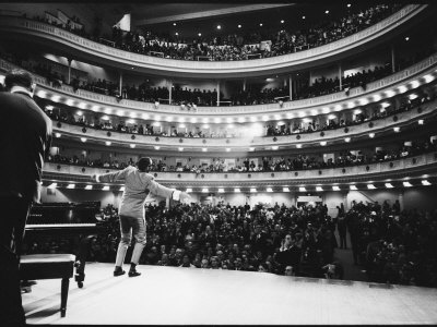 Ray Charles Singing, with Arms Outstretched, During Performance at Carnegie Hall Premium Photographic Print by Bill Ray