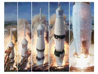 Composite 5 Frame Shot of Gantry Retracting While Saturn V Boosters Lift Off to Carry Apollo 11 Photographic Print by Ralph Morse