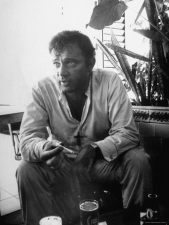 Richard Burton Relaxing in Cantina on Location Metal Print by Gjon Mili