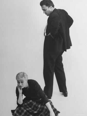 Italian Director Federico Fellini and Actress Wife Giulietta Masina Posing in Studio Premium Photographic Print by Gjon Mili