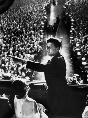 President John Kennedy Next to His Wife Jacqueline Overlooking Crowd Attending His Inaugural Ball Photographic Print by Paul Schutzer