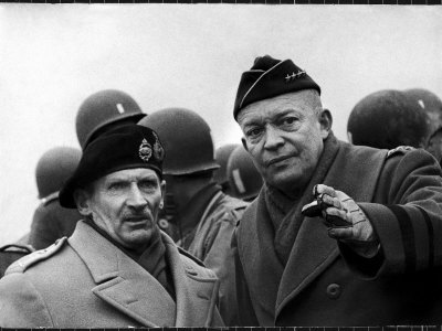 Gen. Dwight Eisenhower, Commander in Chief with British Field Commander Gen. Bernard Montgomery Premium Photographic Print by Frank Scherschel
