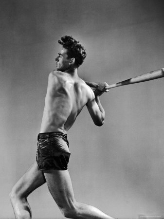 Ted Williams Showing Off His Powerful Swing Premium Photographic Print by Gjon Mili