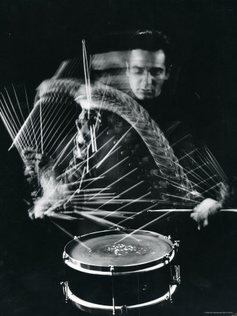 Drummer Gene Krupa Playing Drum at Gjon Mili's Studio Premium Photographic Print by Gjon Mili