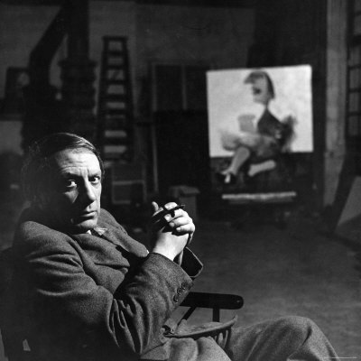 Pablo Picasso Sitting Alone in His Studio, Holding a Cigarette Premium Photographic Print by Peter Rose-pulman