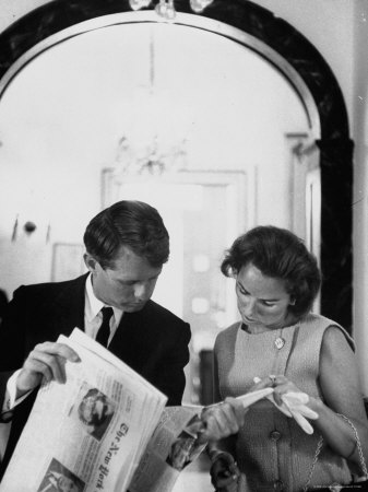 Attorney General Robert Kennedy and Wife Looking at Copy of the New York Times Metal Print by George Silk