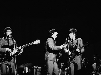 Pop Music Group the Beatles in Concert George Harrison, Paul McCartney, John Lennon Metal Print by Ralph Morse