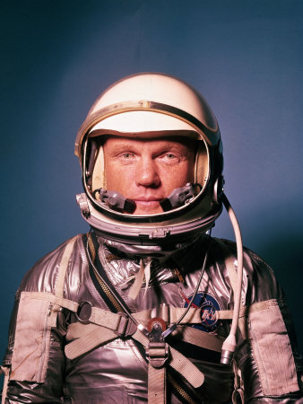 Astronaut John Glenn in a Mercury Program Pressure Suit and Helmet Metal Print by Ralph Morse
