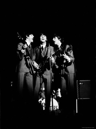 Pop Music Group the Beatles in Concert Paul McCartney, John Lennon, George Harrison Metal Print by Ralph Morse