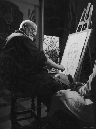 Henri Matisse at His Easel, Drawing from Live Model Reproduction photographique sur papier de qualit