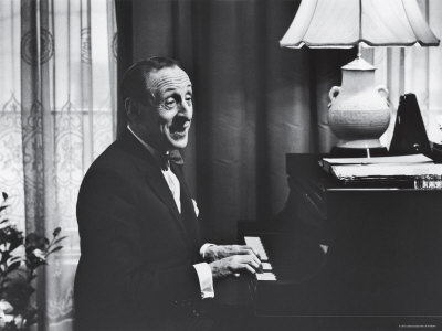 Very Good Portrait of Pianist Vladimir Horowitz Seated at the Piano at His Home in New York Premium Photographic Print by Gjon Mili