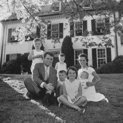 Future Atty. Gen. Robert Kennedy Posing with Wife and Children in Front of Their Hickory Hill Home Photographic Print by Paul Schutzer