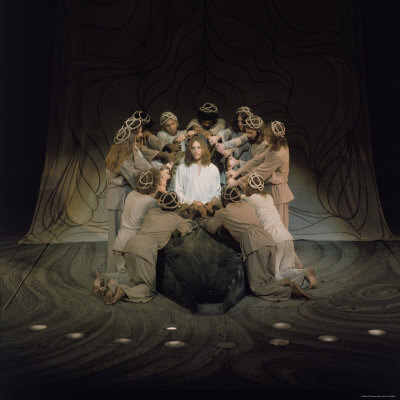 Jesus Surrounded by His Disciples in a Scene from Jesus Christ Superstar Premium Photographic Print by John Olson