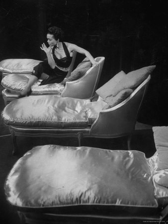 Eartha Kitt, Sitting on Chaise in Scene from New Faces Metal Print by Ralph Morse