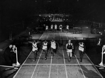 Triple Exposure of Start, Mid and Finish of 60 Yard Dash at Millrose Games Metal Print by Ralph Morse
