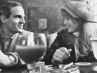 Film Director Francois Truffaut with Actress Julie Christie During Filming of