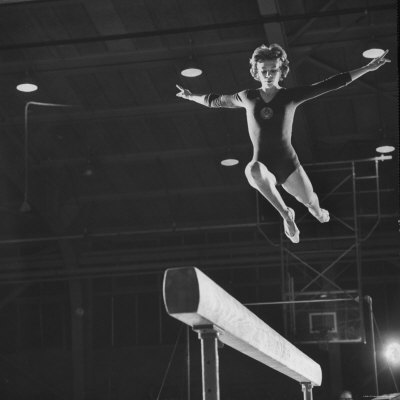 Soviet Gymnast Larisa Latnina in US Soviet Meet at West Chester State Teachers' College Photographic Print by George Silk
