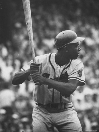 Baseball Player Hank Aaron Waiting for the Pitch Metal Print by George Silk
