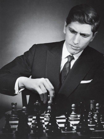 American Chess Champion Robert J. Fisher Playing a Match Metalldrucke von Carl Mydans