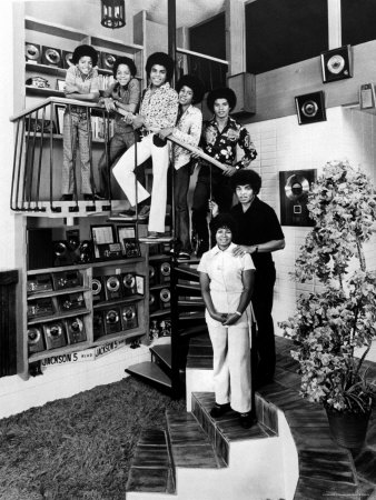 Jackson Five Michael, Marlon, Tito, Jermaine, and Jackie, with Parents Joe and Katherine Jackson Premium Photographic Print by John Olson