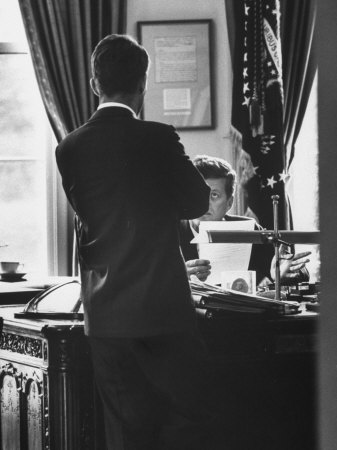 Attorney General Robert Kennedy, Conferring with Brother President John Kennedy at White House Photographic Print by Art Rickerby