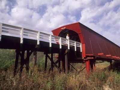 Woman on Roseman Bridge, Madison County, Iowa, USA Photographic Print by Bill Bachmann