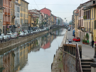 Shops and Restaurants Along Canal, Naviglio Grande, Milan, Italy Photographic Print by Lisa S. Engelbrecht