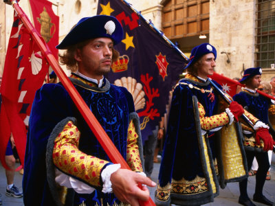 Men in Costume, Il Palio Parade, Siena, Italy Photographic Print by Dallas Stribley