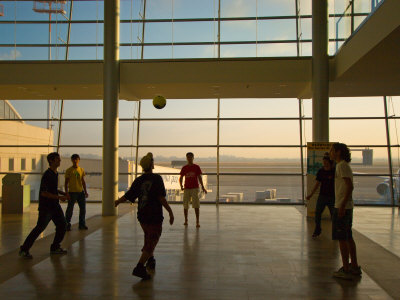 Playing Soccer at Ben Gurion Airport, Tel Aviv, Israel Photographic Print by Stephane Victor