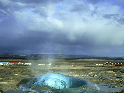 Strokkur (The Butter Churn) Erupts Approx Every 3 Mns at Geyser Hot Springs Area, Iceland Photographic Print by Richard Packwood
