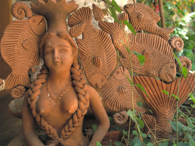 Natural Clay Mermaid and Fish Design, Oaxaca, Mexico Photographic Print by Judith Haden