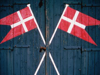 Danish Flags Painted on Doors of Life-Saving Station, Sonderho, Denmark Photographic Print by Martin Lladó