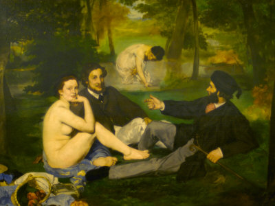 Edouard Manet's Le Dejeuner sur l'herbe in Musee d'Orsay, Paris, France Photographic Print by Édouard Manet