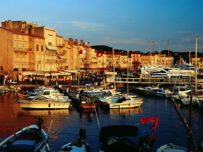 Boats and Buildings at Port, St. Tropez, France Photographic Print by Richard I'Anson