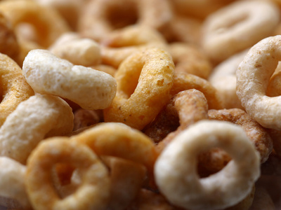 Close-up of Round Frosted Breakfast Cereal Photographic Print